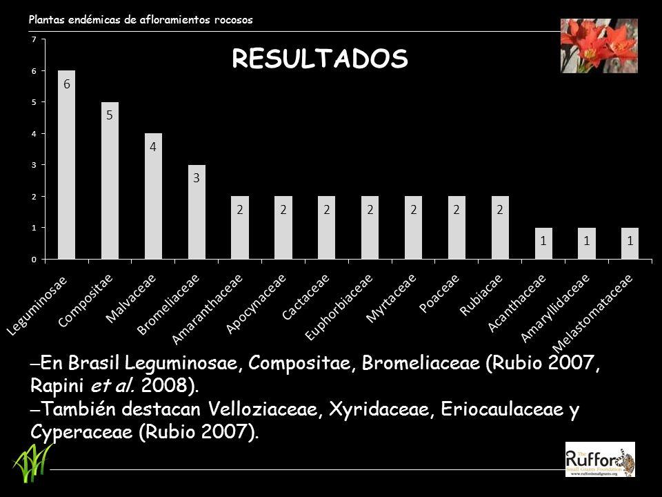 Plantas endémicas de afloramientos rocosos RESULTADOS En Brasil Leguminosae, Compositae, Bromeliaceae (Rubio 2007, Rapini et al. 2008). También destac