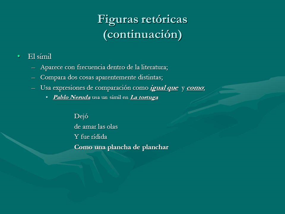 Figuras retóricas (continuación) El símilEl símil –Aparece con frecuencia dentro de la literatura; –Compara dos cosas aparentemente distintas; –Usa ex