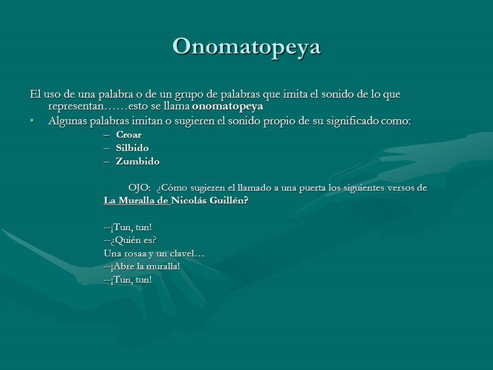 Onomatopeya El uso de una palabra o de un grupo de palabras que imita el sonido de lo que representan……esto se llama onomatopeya Algunas palabras imit