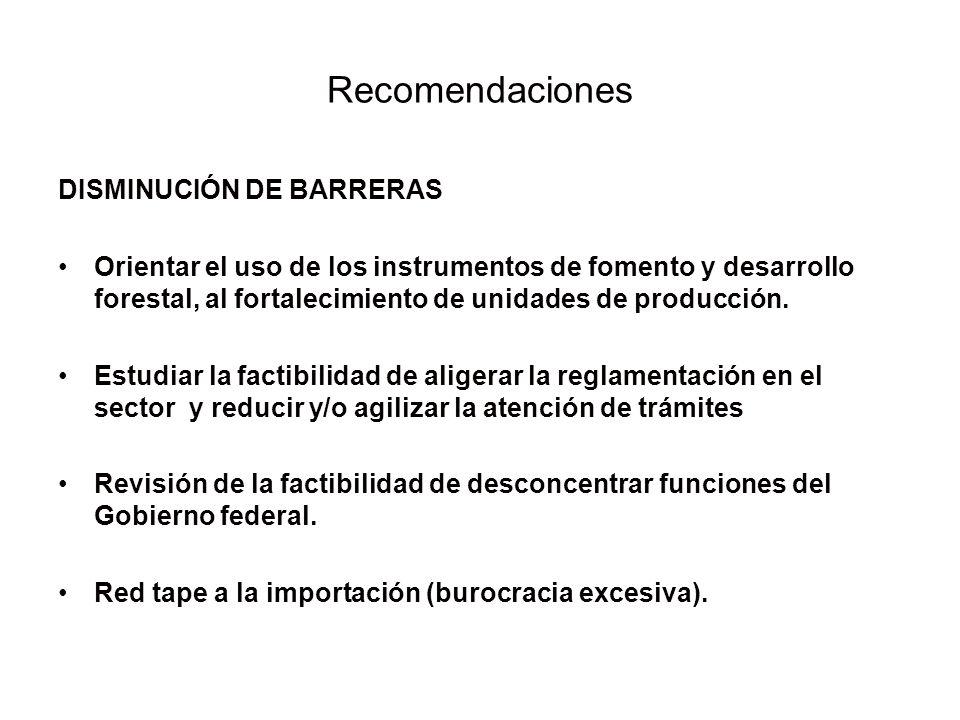 DISMINUCIÓN DE BARRERAS Orientar el uso de los instrumentos de fomento y desarrollo forestal, al fortalecimiento de unidades de producción. Estudiar l