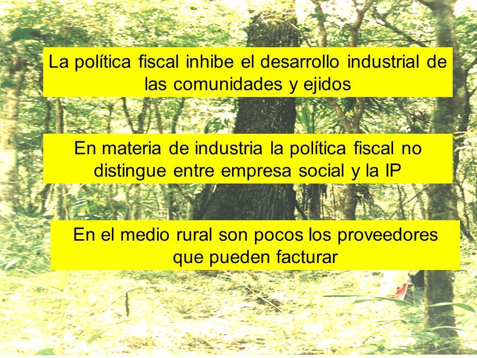 La política fiscal inhibe el desarrollo industrial de las comunidades y ejidos En materia de industria la política fiscal no distingue entre empresa s