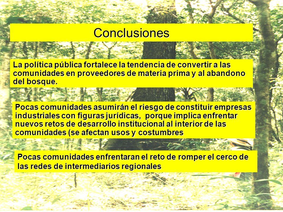 Conclusiones La política pública fortalece la tendencia de convertir a las comunidades en proveedores de materia prima y al abandono del bosque. Pocas