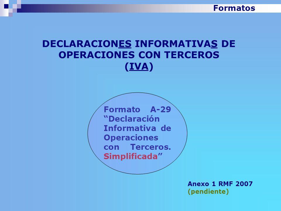 DECLARACIONES INFORMATIVAS DE OPERACIONES CON TERCEROS (IVA) Anexo 1 RMF 2007 (pendiente) Formato A-29 Declaración Informativa de Operaciones con Terc