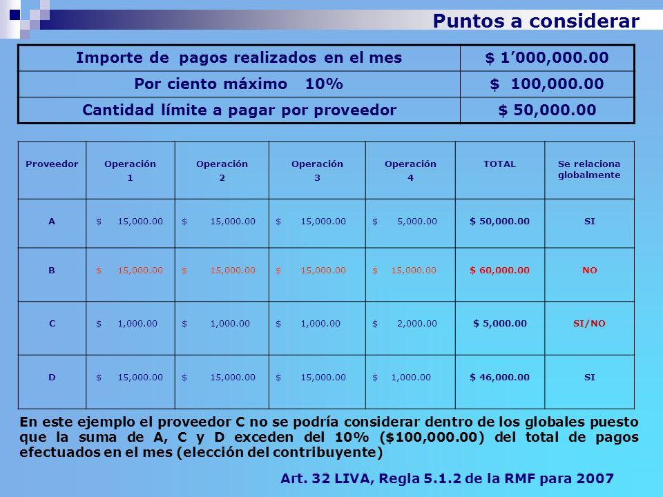 Puntos a considerar Importe de pagos realizados en el mes$ 1000,000.00 Por ciento máximo 10%$ 100,000.00 Cantidad límite a pagar por proveedor$ 50,000