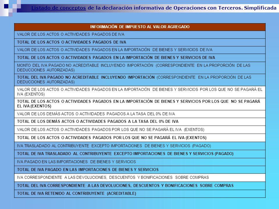 Listado de conceptos de la declaración informativa de Operaciones con Terceros. Simplificada INFORMACIÓN DE IMPUESTO AL VALOR AGREGADO VALOR DE LOS AC