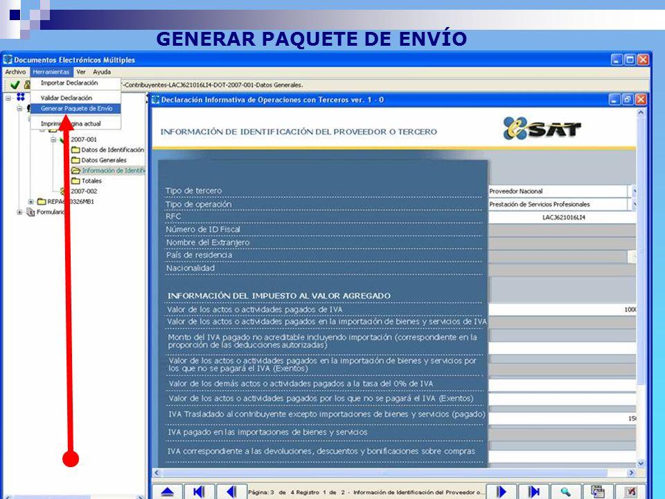 Anexo 1 RMF 2007 (pendiente) GENERAR PAQUETE DE ENVÍO