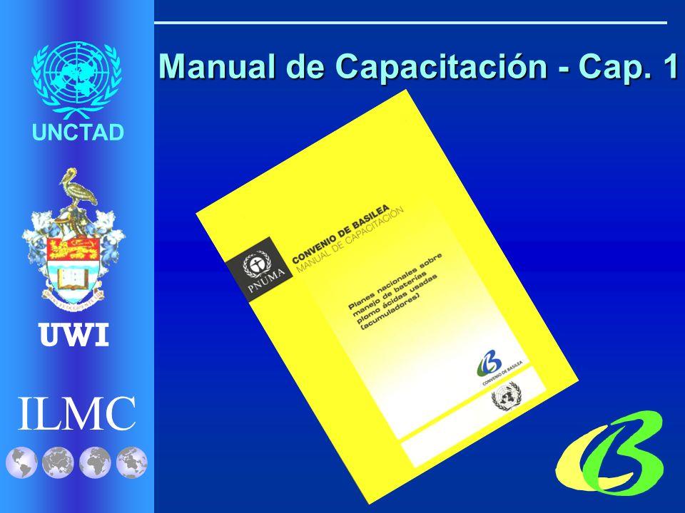 ILMC UNCTAD UWI Beneficios 1.Preparado por Participantes del Proyecto: SBC, ILMC, UNCTAD y UWI 2.Basado en Buenas Prácticas 3.Provee numerosos ejemplos 4.Estará disponible en 3 idiomas 5.Será puesto en línea BAPU – Manual de Capacitación