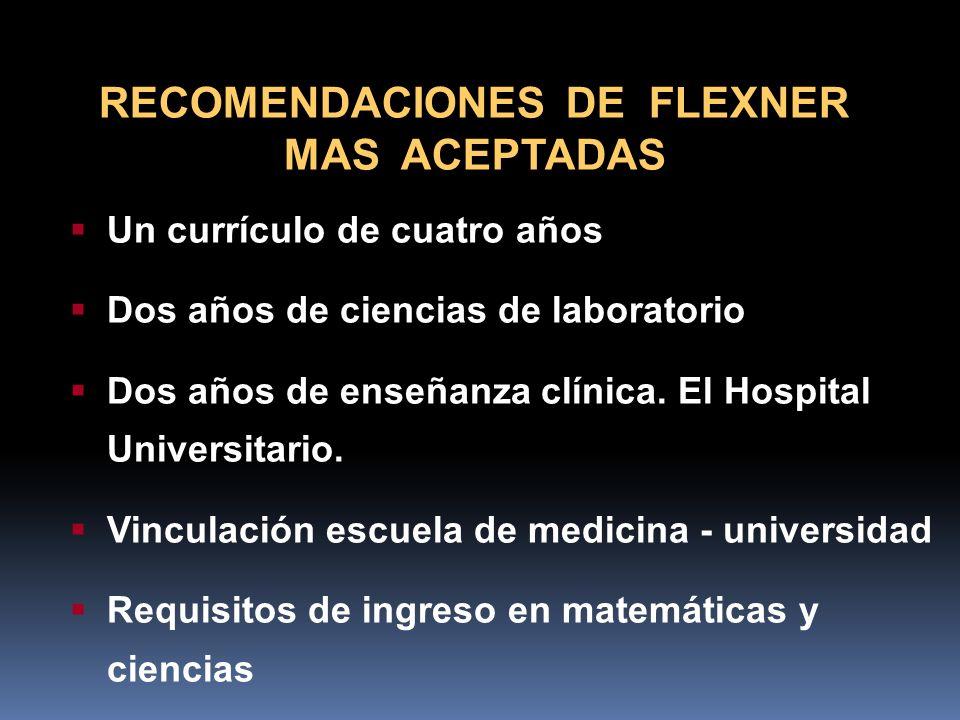 RECOMENDACIONES DE FLEXNER MAS ACEPTADAS Un currículo de cuatro años Dos años de ciencias de laboratorio Dos años de enseñanza clínica. El Hospital Un