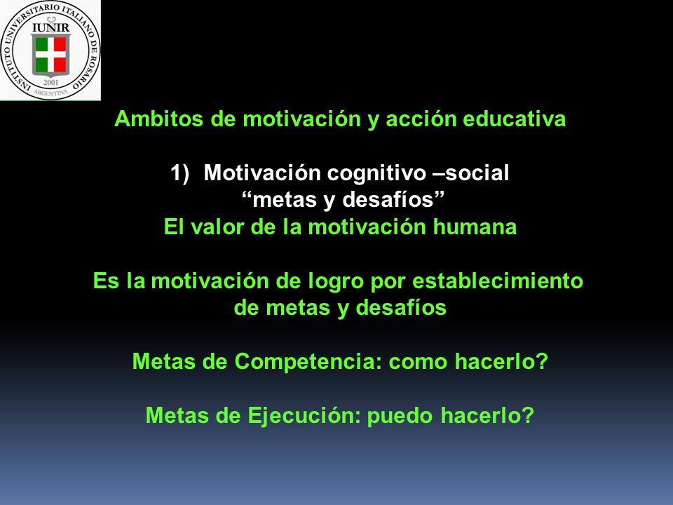 Ambitos de motivación y acción educativa 1)Motivación cognitivo –social metas y desafíos El valor de la motivación humana Es la motivación de logro po