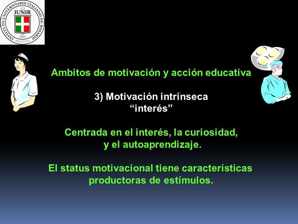 Ambitos de motivación y acción educativa 3) Motivación intrínseca interés Centrada en el interés, la curiosidad, y el autoaprendizaje. El status motiv