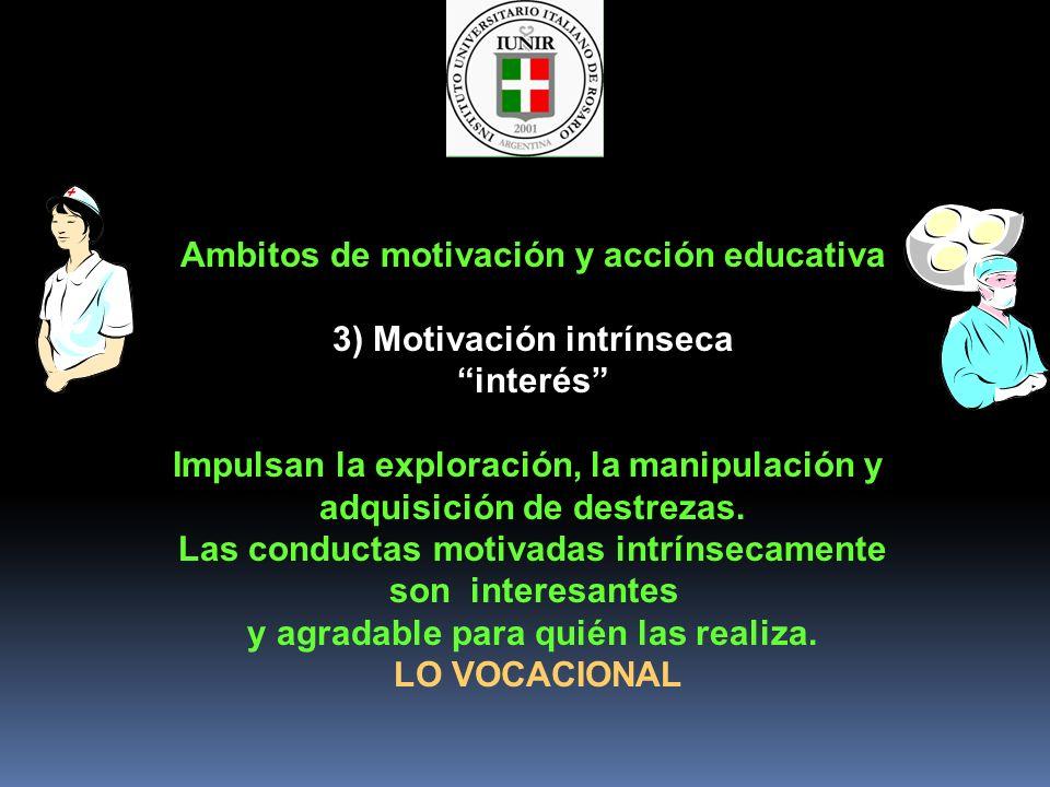 Ambitos de motivación y acción educativa 3) Motivación intrínseca interés Impulsan la exploración, la manipulación y adquisición de destrezas. Las con