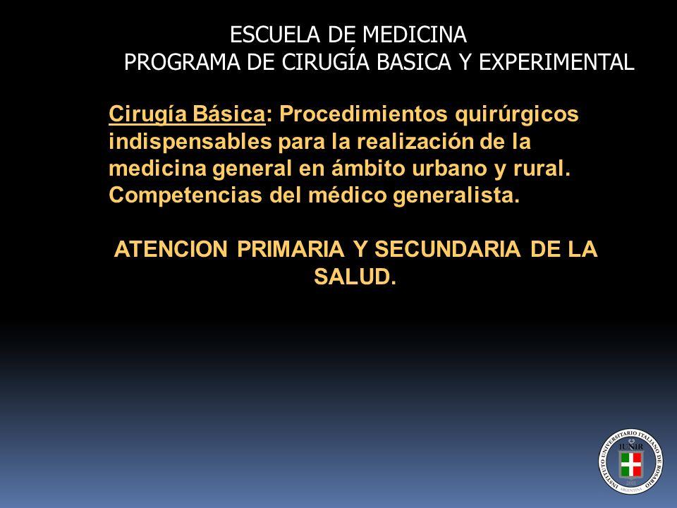 Cirugía Básica: Procedimientos quirúrgicos indispensables para la realización de la medicina general en ámbito urbano y rural. Competencias del médico