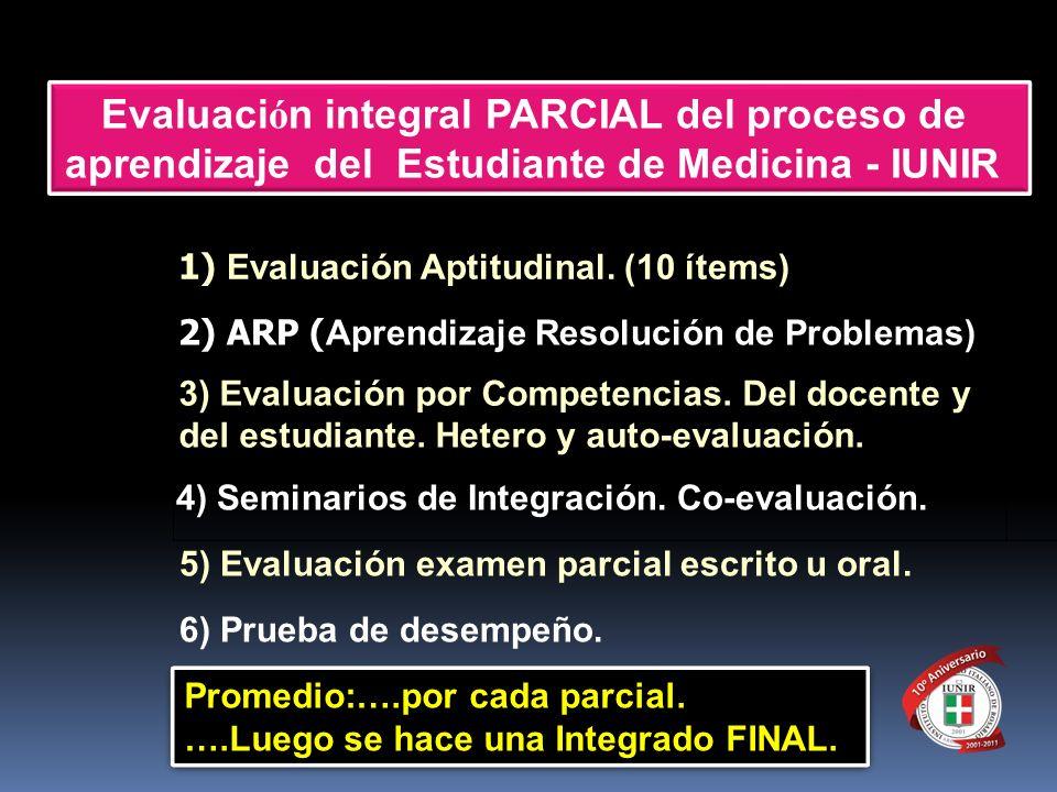 3) Evaluación por Competencias. Del docente y del estudiante. Hetero y auto-evaluación. Evaluaci ó n integral PARCIAL del proceso de aprendizaje del E
