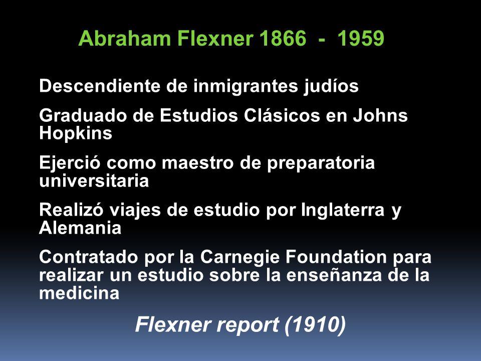 Abraham Flexner 1866 - 1959 Descendiente de inmigrantes judíos Graduado de Estudios Clásicos en Johns Hopkins Ejerció como maestro de preparatoria uni