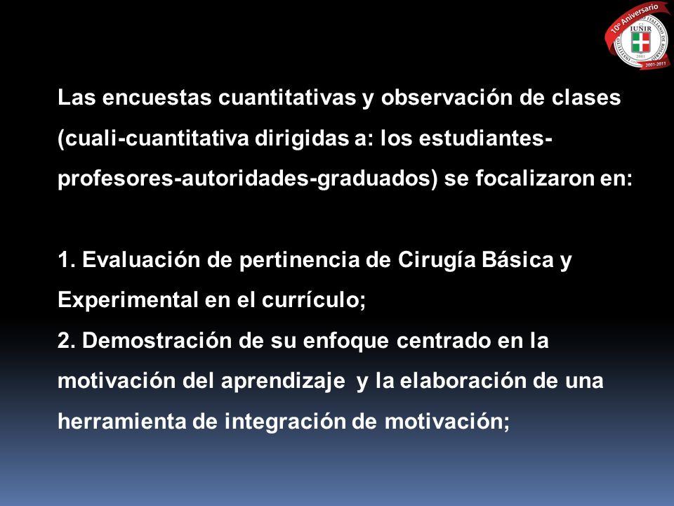 Las encuestas cuantitativas y observación de clases (cuali-cuantitativa dirigidas a: los estudiantes- profesores-autoridades-graduados) se focalizaron