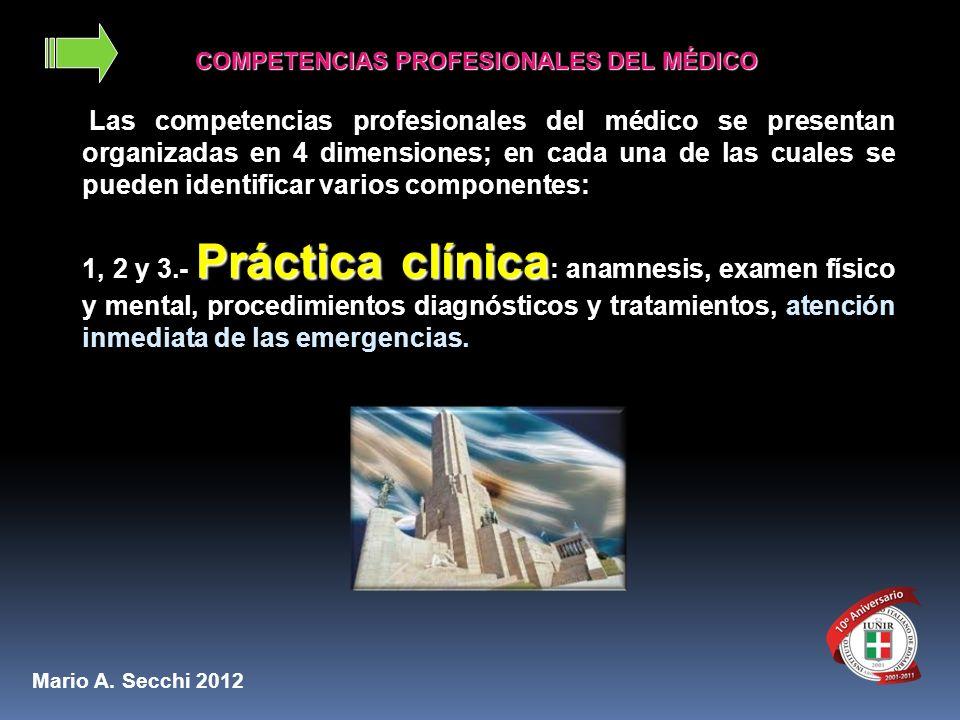 COMPETENCIAS PROFESIONALES DEL MÉDICO COMPETENCIAS PROFESIONALES DEL MÉDICO Las competencias profesionales del médico se presentan organizadas en 4 di