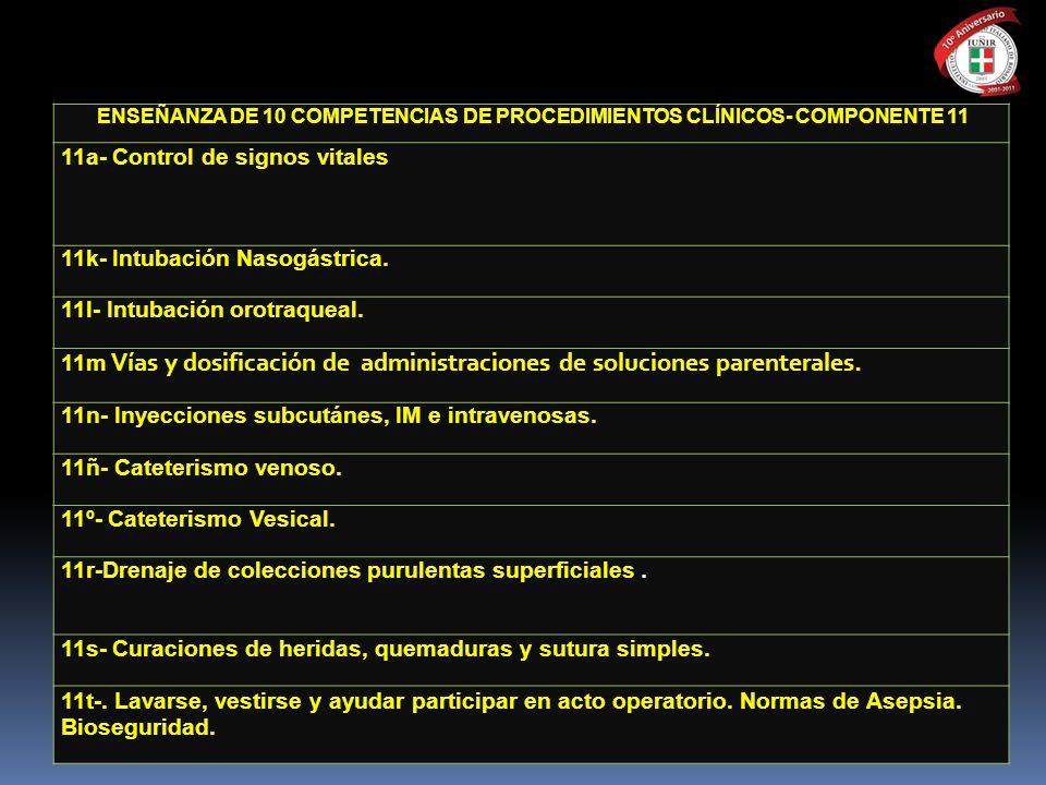 ENSEÑANZA DE 10 COMPETENCIAS DE PROCEDIMIENTOS CLÍNICOS- COMPONENTE 11 11a- Control de signos vitales 11k- Intubación Nasogástrica. 11l- Intubación or