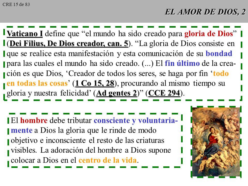 EL AMOR DE DIOS, 2 Vaticano I Vaticano I define que el mundo ha sido creado para gloria de Dios Dei Filius, De Dios creador, can.