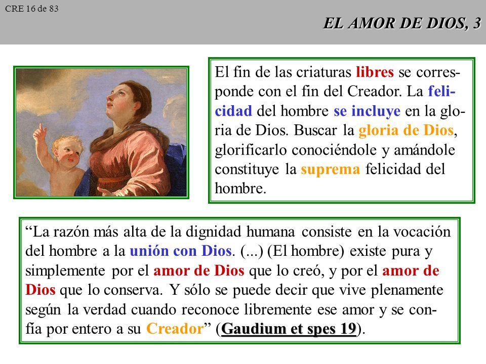 EL AMOR DE DIOS, 3 El fin de las criaturas libres se corres- ponde con el fin del Creador.