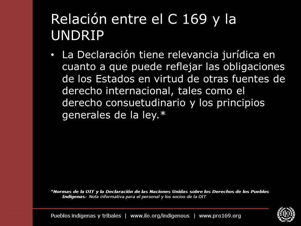 Pueblos indígenas y tribales | www.ilo.org/indigenous | www.pro169.org Relación entre el C 169 y la UNDRIP La Declaración tiene relevancia jurídica en