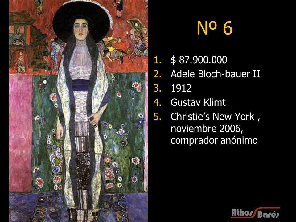 17 Nº 6 1.$ 87.900.000 2.Adele Bloch-bauer II 3.1912 4.Gustav Klimt 5.Christies New York, noviembre 2006, comprador anónimo