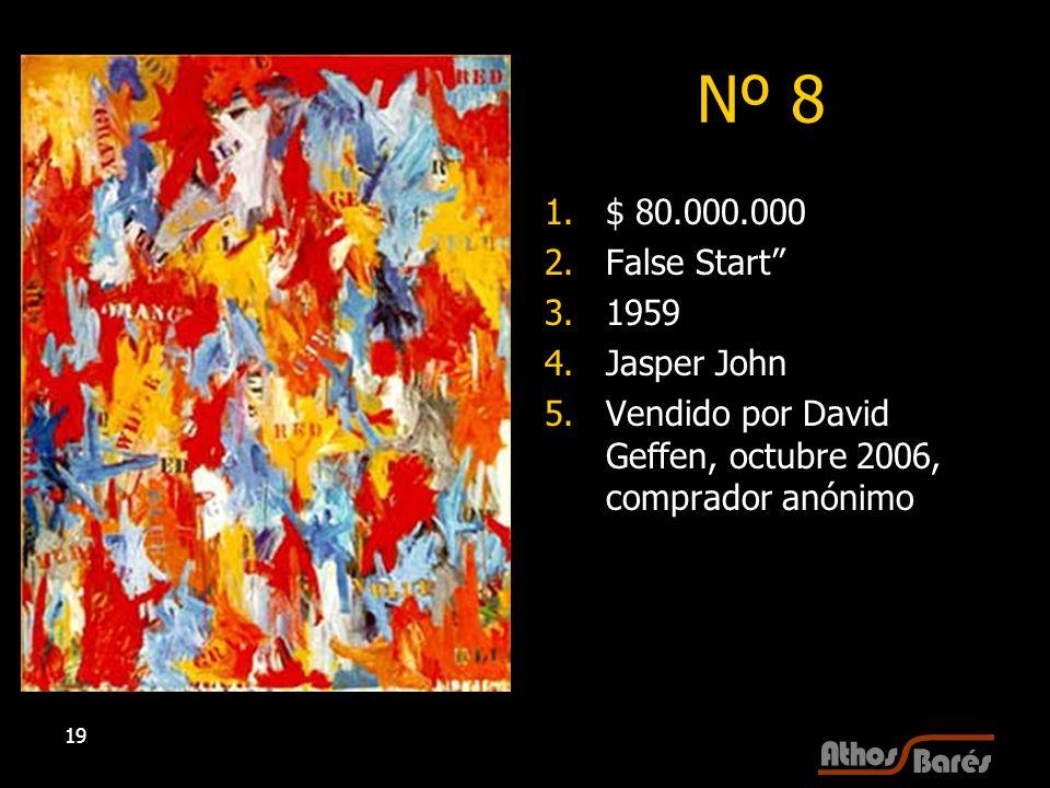 19 Nº 8 1.$ 80.000.000 2.False Start 3.1959 4.Jasper John 5.Vendido por David Geffen, octubre 2006, comprador anónimo