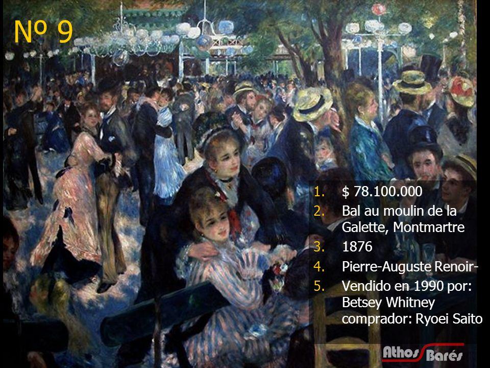 20 Nº 9 1.$ 78.100.000 2.Bal au moulin de la Galette, Montmartre 3.1876 4.Pierre-Auguste Renoir- 5.Vendido en 1990 por: Betsey Whitney comprador: Ryoe