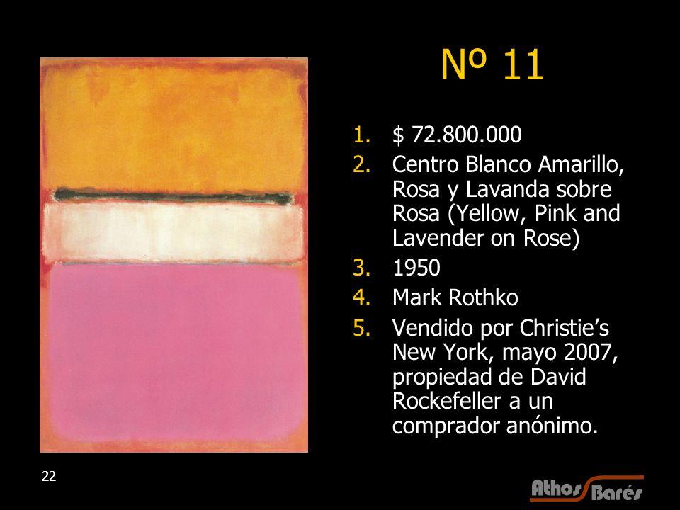 22 Nº 11 1.$ 72.800.000 2.Centro Blanco Amarillo, Rosa y Lavanda sobre Rosa (Yellow, Pink and Lavender on Rose) 3.1950 4.Mark Rothko 5.Vendido por Chr