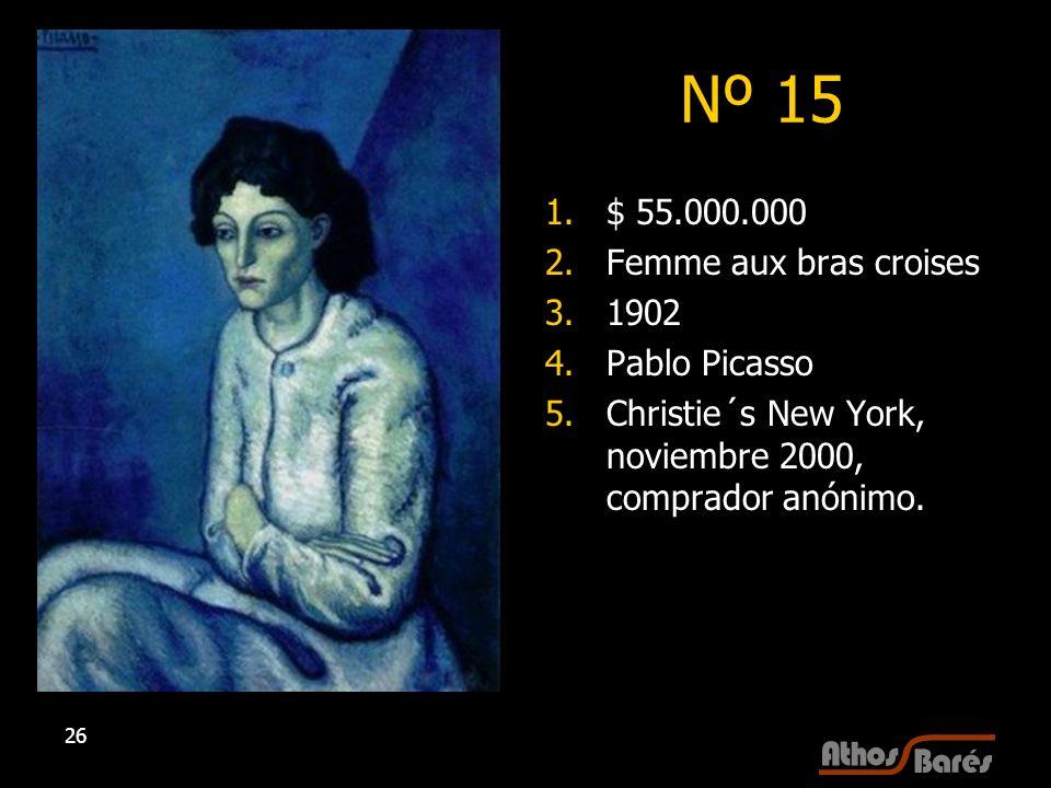 26 Nº 15 1.$ 55.000.000 2.Femme aux bras croises 3.1902 4.Pablo Picasso 5.Christie´s New York, noviembre 2000, comprador anónimo.