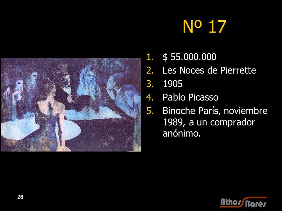 28 Nº 17 1.$ 55.000.000 2.Les Noces de Pierrette 3.1905 4.Pablo Picasso 5.Binoche París, noviembre 1989, a un comprador anónimo.