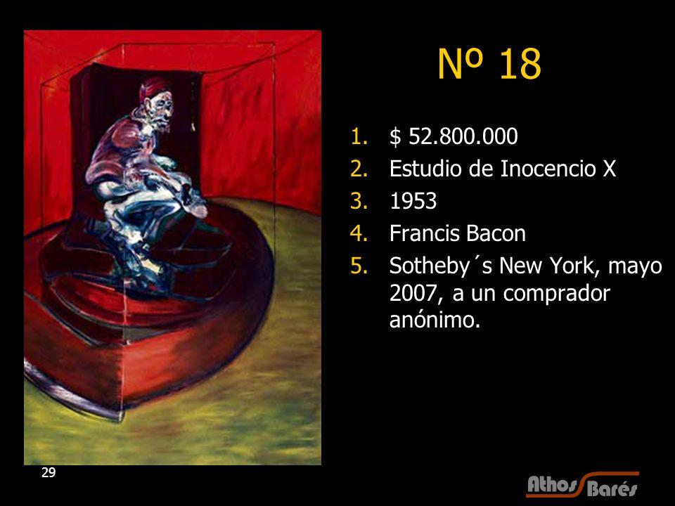 29 Nº 18 1.$ 52.800.000 2.Estudio de Inocencio X 3.1953 4.Francis Bacon 5.Sotheby´s New York, mayo 2007, a un comprador anónimo.