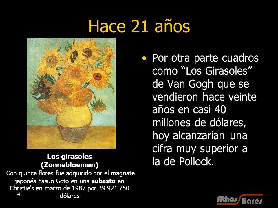 4 Hace 21 años Por otra parte cuadros como Los Girasoles de Van Gogh que se vendieron hace veinte años en casi 40 millones de dólares, hoy alcanzarían