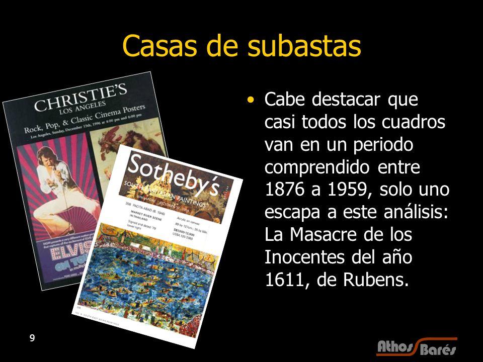 9 Casas de subastas Cabe destacar que casi todos los cuadros van en un periodo comprendido entre 1876 a 1959, solo uno escapa a este análisis: La Masa