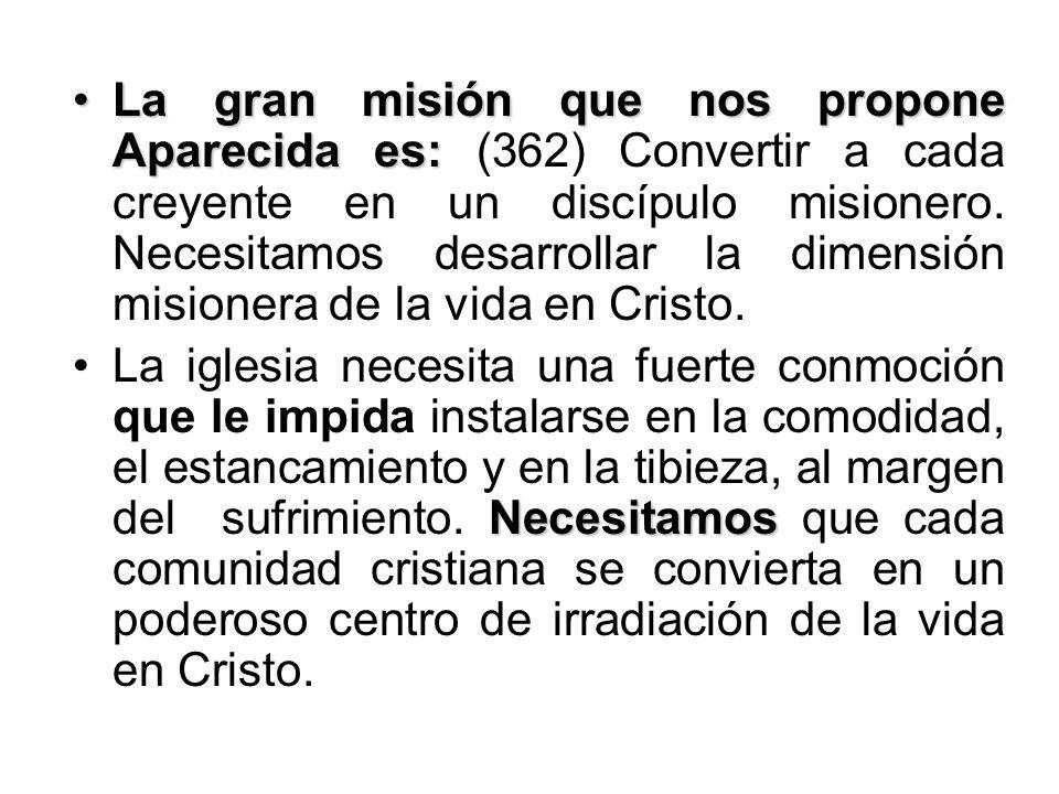 La gran misión que nos propone Aparecida es:La gran misión que nos propone Aparecida es: (362) Convertir a cada creyente en un discípulo misionero. Ne