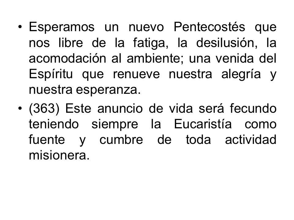 Esperamos un nuevo Pentecostés que nos libre de la fatiga, la desilusión, la acomodación al ambiente; una venida del Espíritu que renueve nuestra aleg