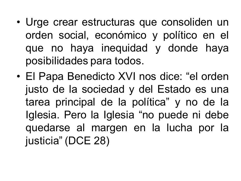 Urge crear estructuras que consoliden un orden social, económico y político en el que no haya inequidad y donde haya posibilidades para todos. El Papa