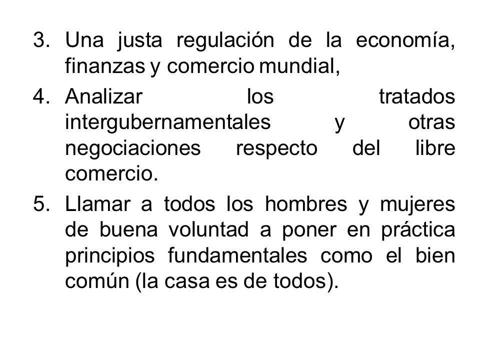 3.Una justa regulación de la economía, finanzas y comercio mundial, 4.Analizar los tratados intergubernamentales y otras negociaciones respecto del li