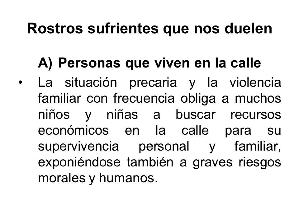 Rostros sufrientes que nos duelen A)Personas que viven en la calle La situación precaria y la violencia familiar con frecuencia obliga a muchos niños
