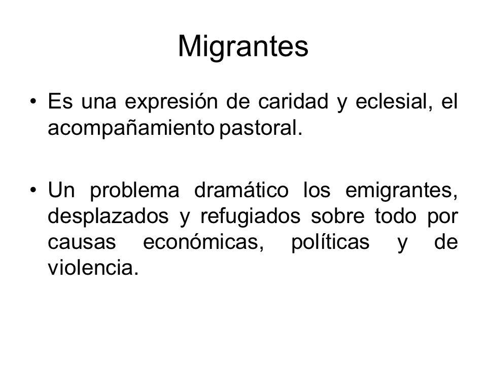 Migrantes Es una expresión de caridad y eclesial, el acompañamiento pastoral. Un problema dramático los emigrantes, desplazados y refugiados sobre tod