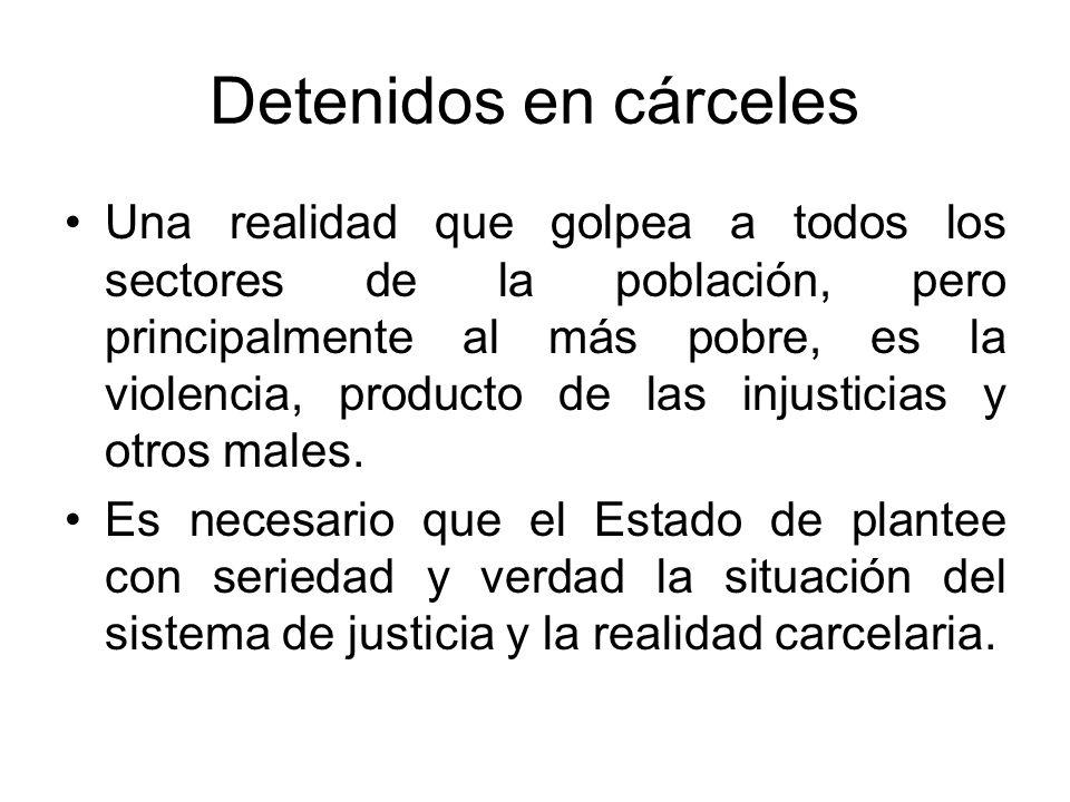 Detenidos en cárceles Una realidad que golpea a todos los sectores de la población, pero principalmente al más pobre, es la violencia, producto de las