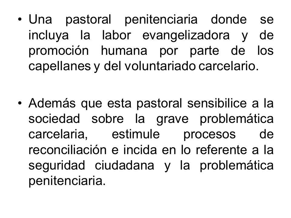 Una pastoral penitenciaria donde se incluya la labor evangelizadora y de promoción humana por parte de los capellanes y del voluntariado carcelario. A