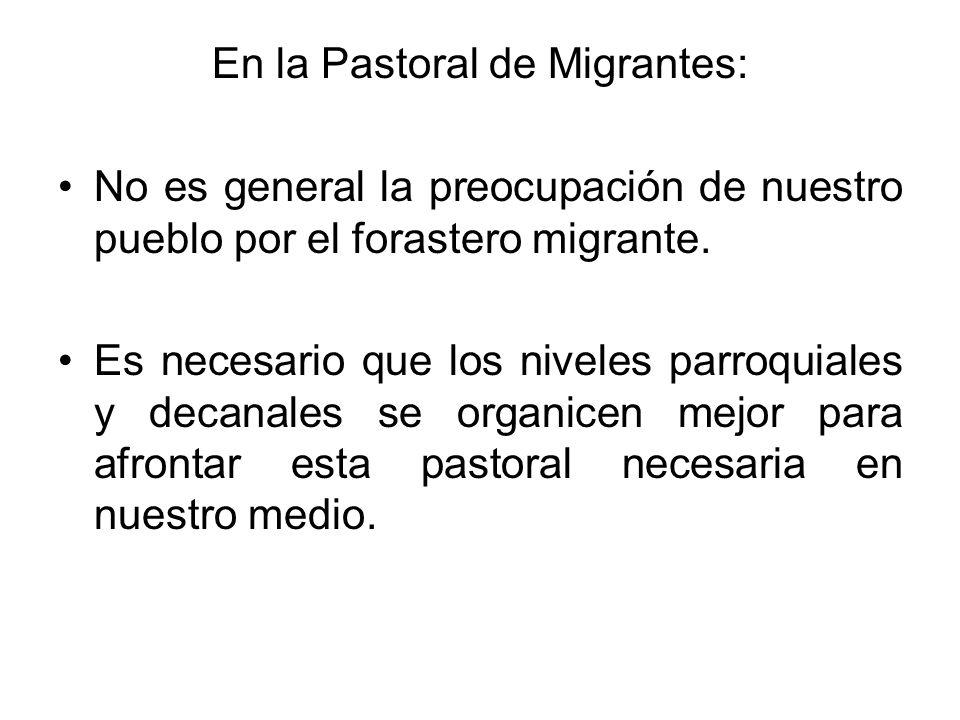 En la Pastoral de Migrantes: No es general la preocupación de nuestro pueblo por el forastero migrante. Es necesario que los niveles parroquiales y de