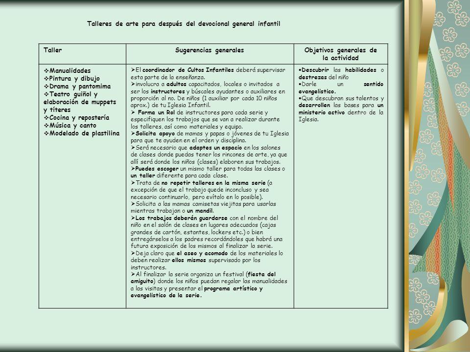 Talleres de arte para después del devocional general infantil TallerSugerencias generalesObjetivos generales de la actividad Manualidades Pintura y di