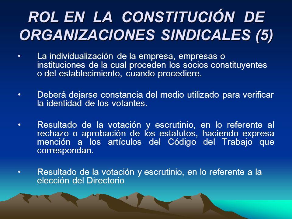 ROL EN LA CONSTITUCIÓN DE ORGANIZACIONES SINDICALES (5) La individualización de la empresa, empresas o instituciones de la cual proceden los socios co