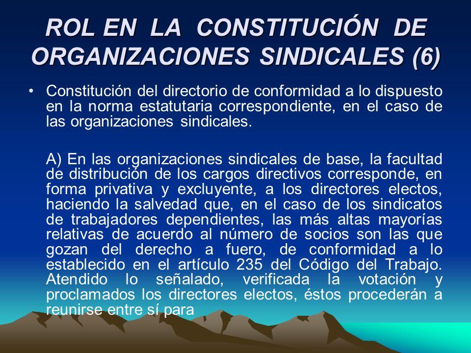 ROL EN LA CONSTITUCIÓN DE ORGANIZACIONES SINDICALES (6) Constitución del directorio de conformidad a lo dispuesto en la norma estatutaria correspondie