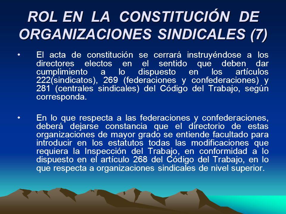 ROL EN LA CONSTITUCIÓN DE ORGANIZACIONES SINDICALES (7) El acta de constitución se cerrará instruyéndose a los directores electos en el sentido que de