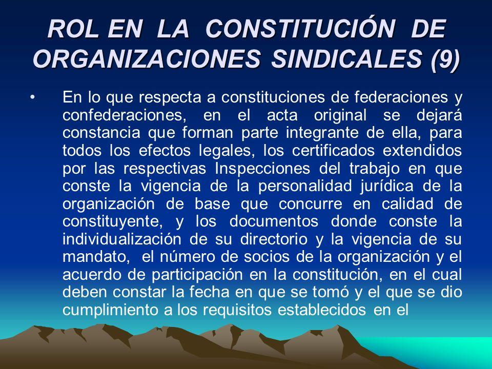 ROL EN LA CONSTITUCIÓN DE ORGANIZACIONES SINDICALES (9) En lo que respecta a constituciones de federaciones y confederaciones, en el acta original se