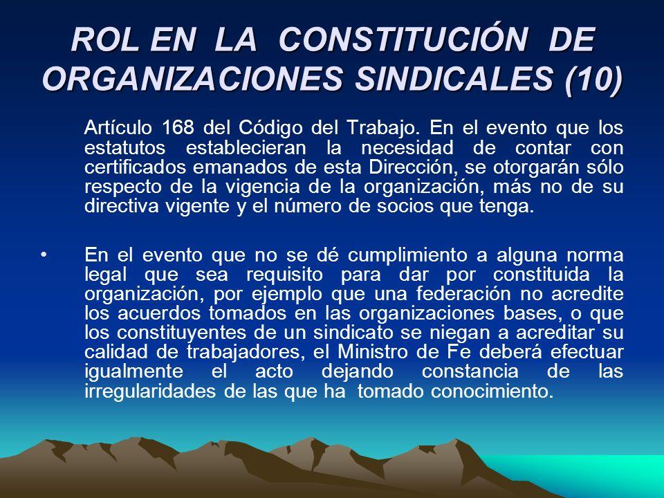 ROL EN LA CONSTITUCIÓN DE ORGANIZACIONES SINDICALES (10) Artículo 168 del Código del Trabajo. En el evento que los estatutos establecieran la necesida