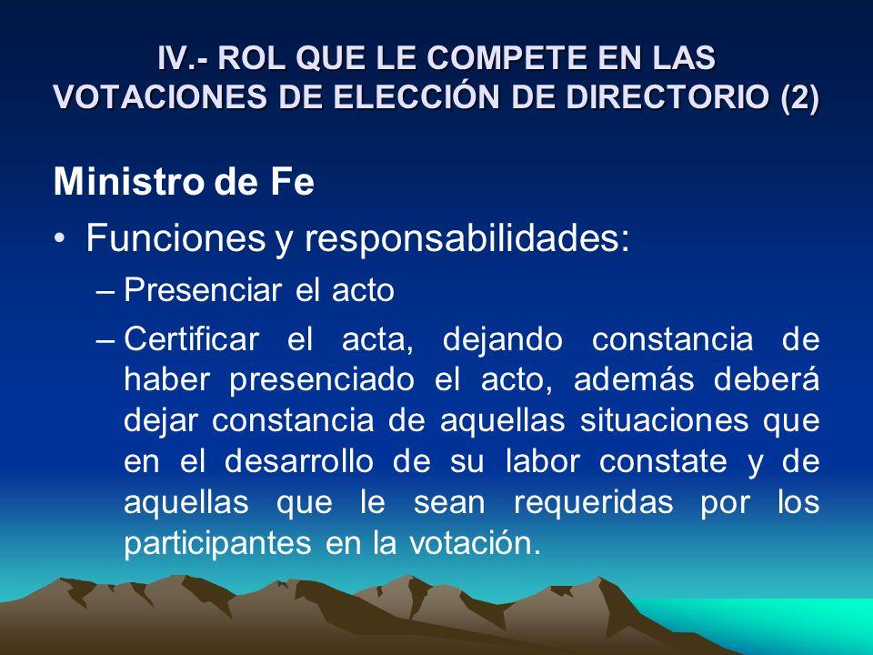 IV.- ROL QUE LE COMPETE EN LAS VOTACIONES DE ELECCIÓN DE DIRECTORIO (2) Ministro de Fe Funciones y responsabilidades: –Presenciar el acto –Certificar