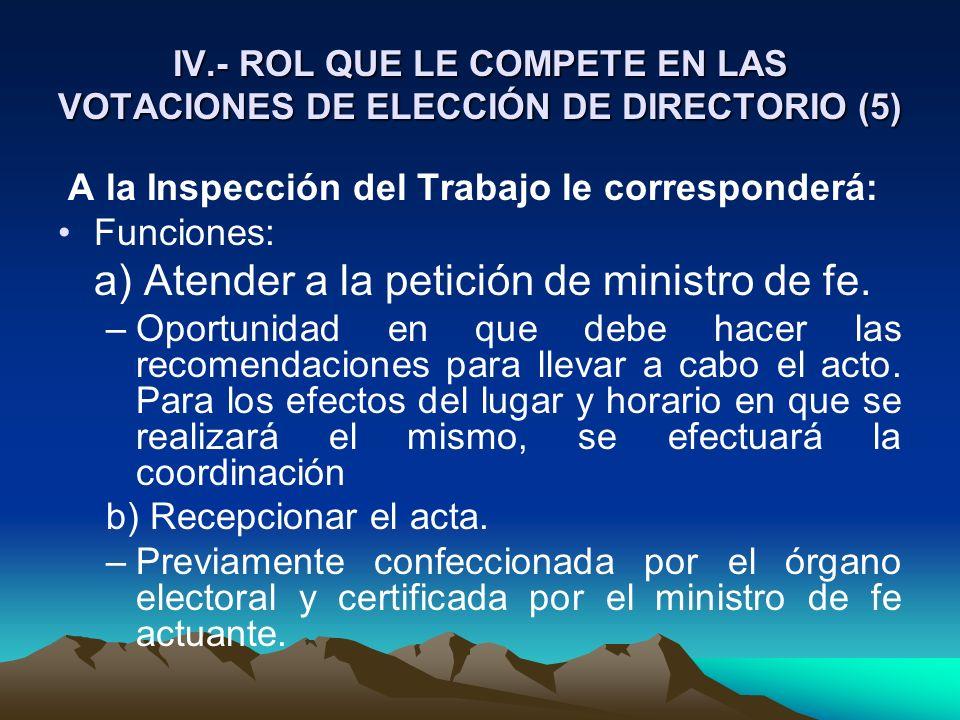 IV.- ROL QUE LE COMPETE EN LAS VOTACIONES DE ELECCIÓN DE DIRECTORIO (5) A la Inspección del Trabajo le corresponderá: Funciones: a) Atender a la petic